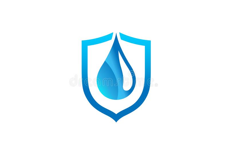 Escudo azul abstracto creativo Logo Design Symbol Vector Illustration de la gotita stock de ilustración