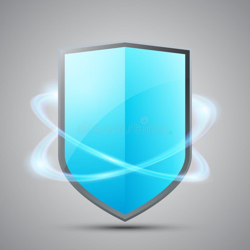 Escudo azul con efecto que brilla intensamente libre illustration