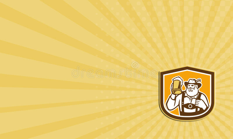 Escudo bávaro de la taza del bebedor de cerveza de la tarjeta de visita retro stock de ilustración
