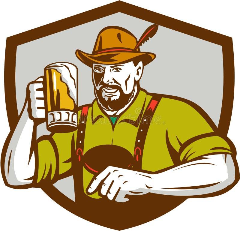 Escudo bávaro del bebedor de cerveza de Oktoberfest retro stock de ilustración
