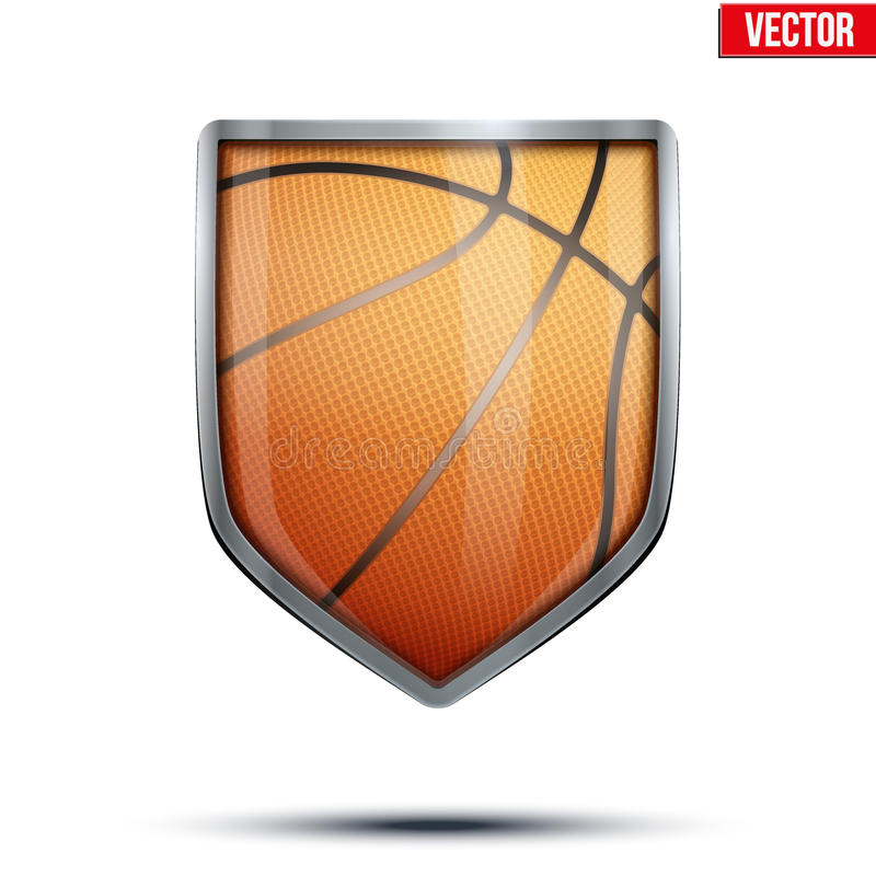 Escudo brillante en la bola del baloncesto dentro stock de ilustración