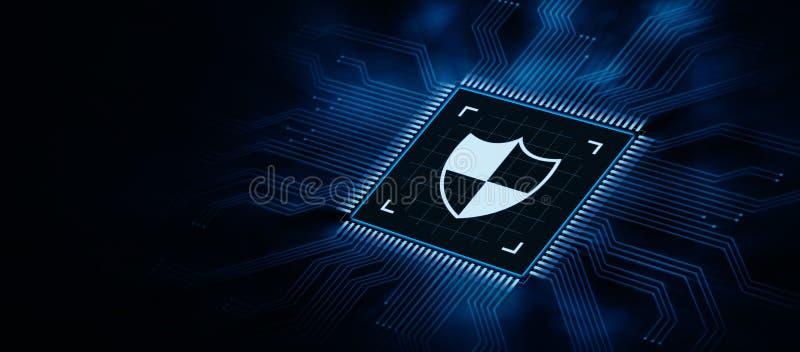 Escudo cibern?tico de la seguridad en concepto de la privacidad de la tecnolog?a del negocio de la protecci?n de datos de la pant libre illustration