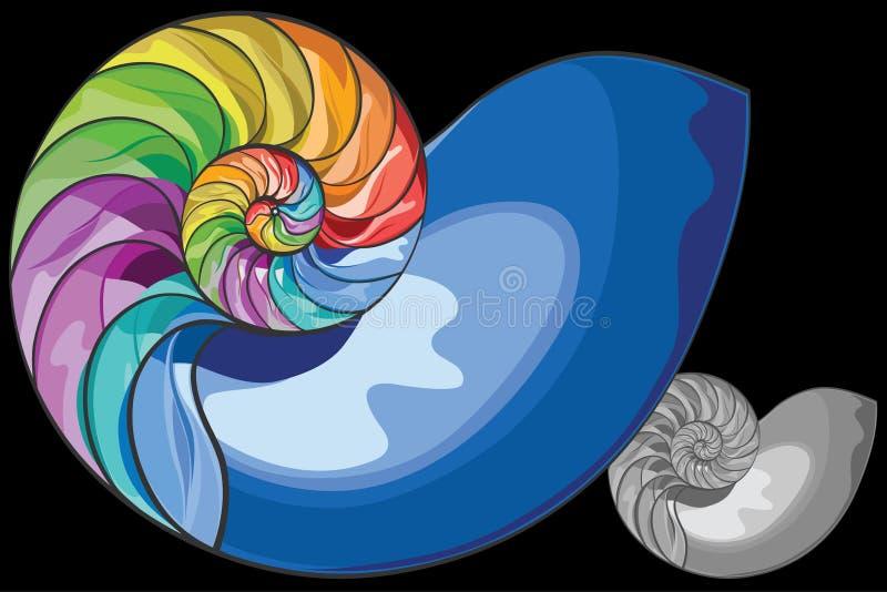 Escudo colorido do nautilus ilustração royalty free