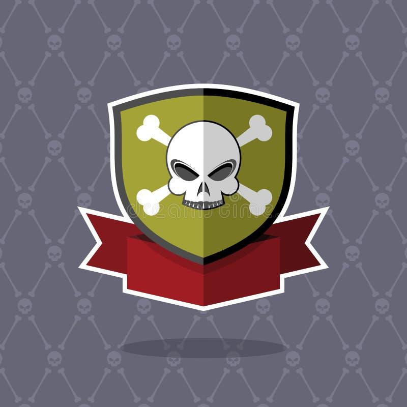 Escudo con el cráneo emblema del pirata ilustración del vector