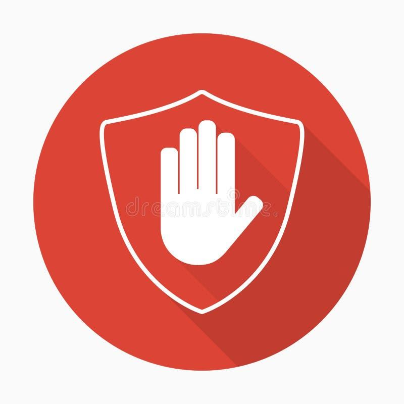 Escudo con el icono del bloque de la mano en estilo plano con la sombra libre illustration