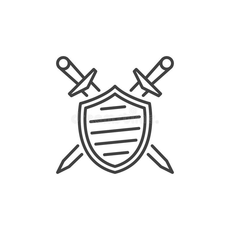 Escudo con el icono linear cruzado del vector de las espadas stock de ilustración