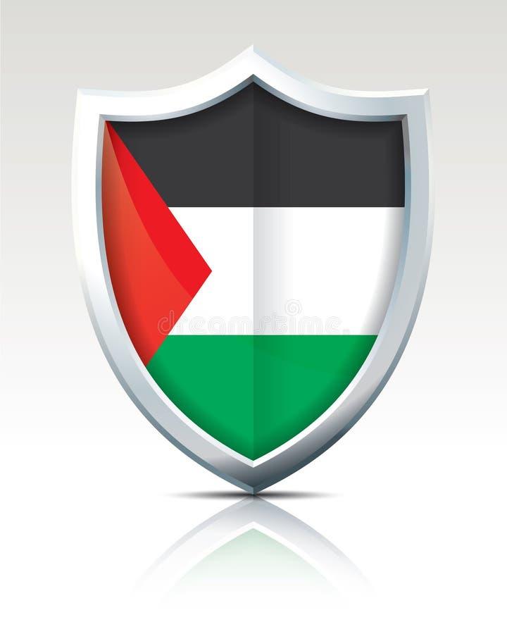 Escudo con la bandera de la Franja de Gaza  ilustración del vector