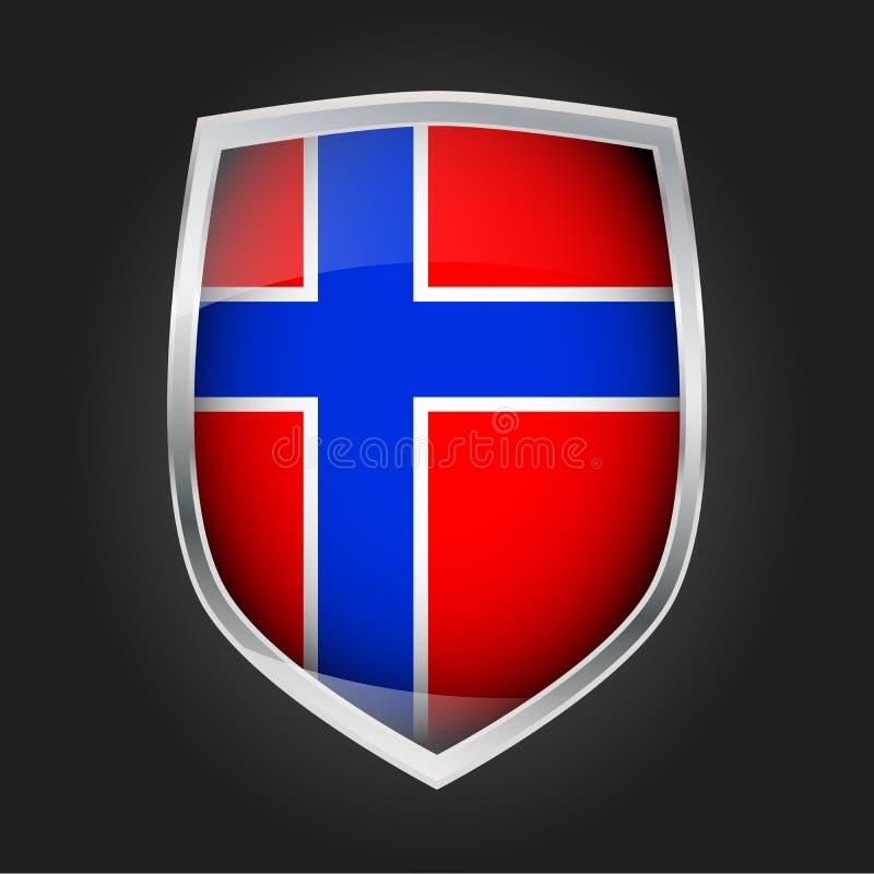 Escudo con la bandera de Noruega ilustración del vector