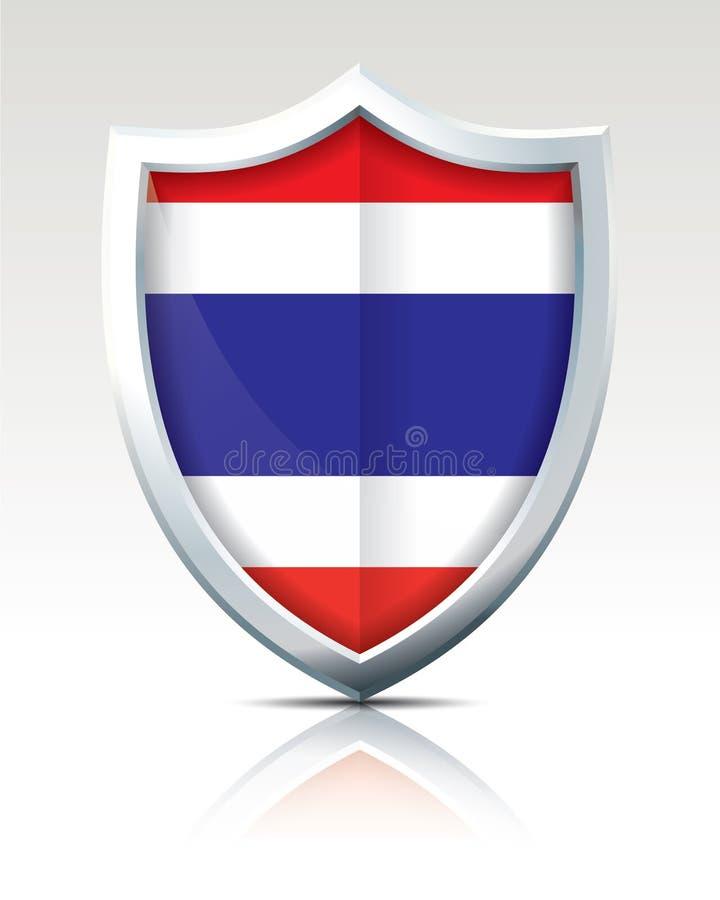 Escudo con la bandera de Tailandia stock de ilustración