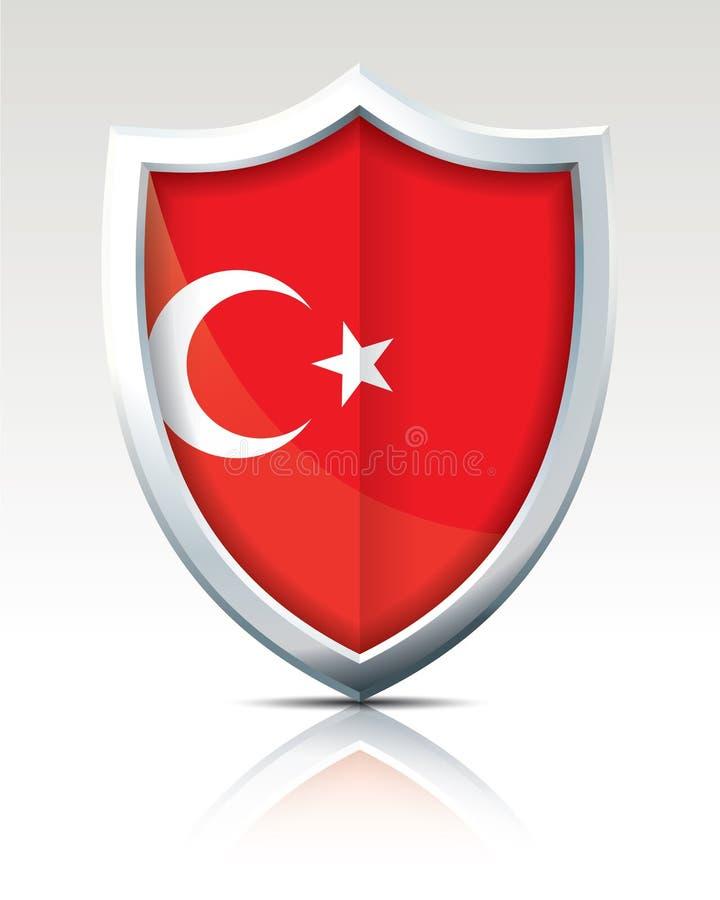 Escudo con la bandera de Turquía ilustración del vector
