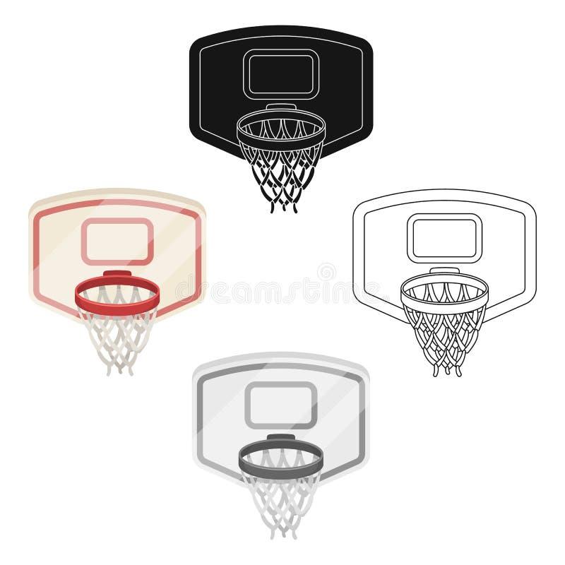 Escudo con la cesta Solo icono del baloncesto en la historieta, web negra del ejemplo de la acci?n del s?mbolo del vector del est ilustración del vector