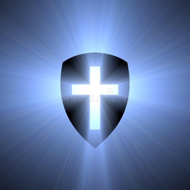 Escudo con la llamarada ligera cruzada azul libre illustration
