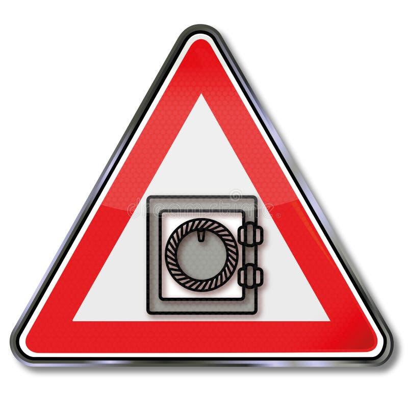 Escudo con una caja fuerte cerrada ilustración del vector