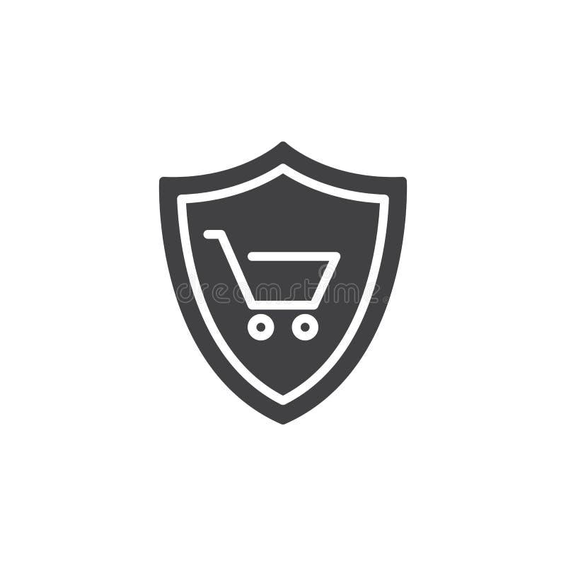 Escudo con vector del icono del carro de la compra stock de ilustración