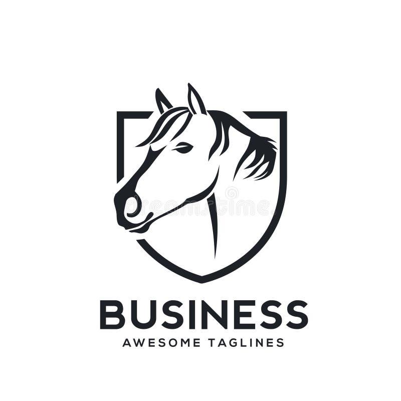 Escudo creativo Logo Symbol del caballo ilustración del vector