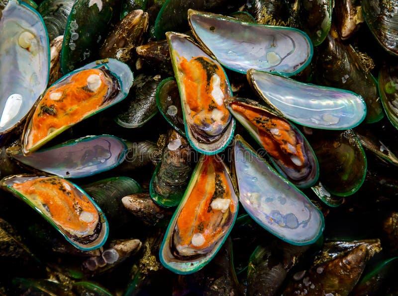 Escudo cru do mexilh?o no mercado, marisco fresco em Tail?ndia mexilh?o do verde da pilha para a venda no mercado imagens de stock royalty free