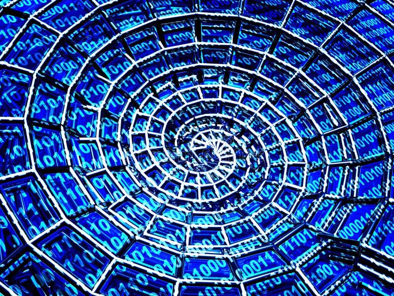 Escudo 3d espiral abstrato de uma grade azul ilustração do vetor