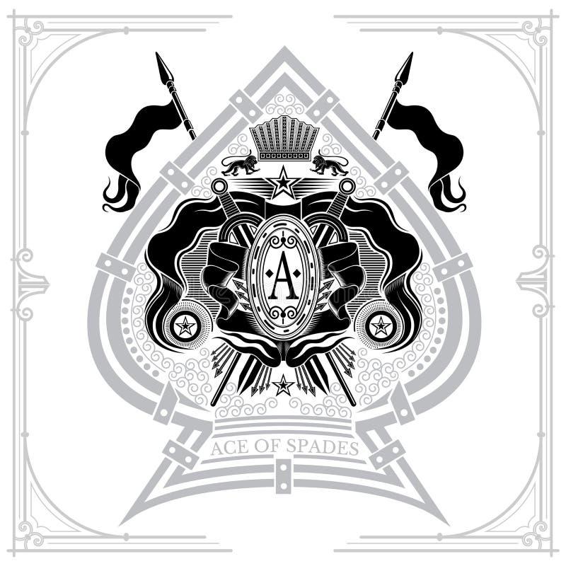 Escudo de armas con las espadas y las lanzas cruzadas en el centro del as de espadas Estilo de la marca o de la camiseta aislado libre illustration