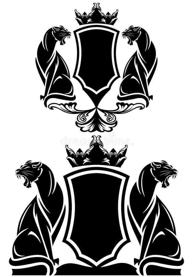 Escudo de armas de la pantera stock de ilustración
