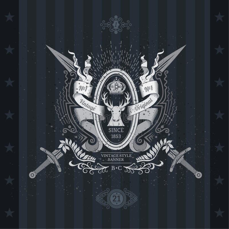 Escudo de armas de las espadas cruzadas y marco oval en el centro entre las cintas libre illustration