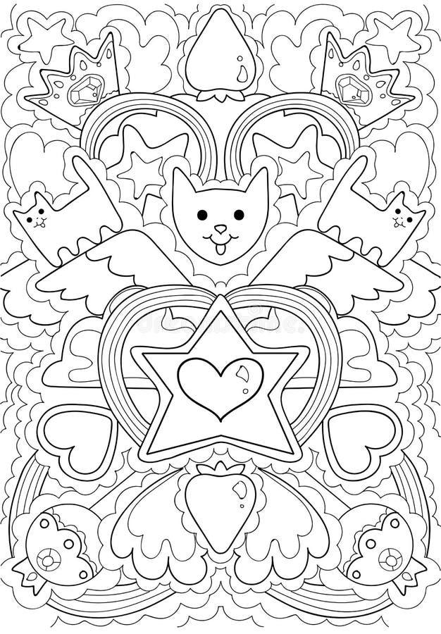 Escudo de armas de los gatos del rey del modelo de la luna stock de ilustración