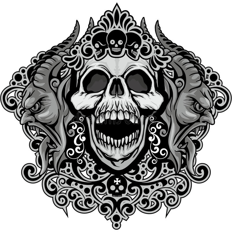 escudo de armas del cráneo del grunge stock de ilustración
