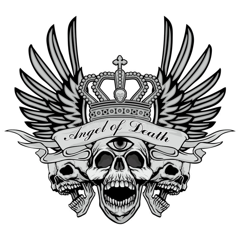 escudo de armas del cráneo del grunge ilustración del vector