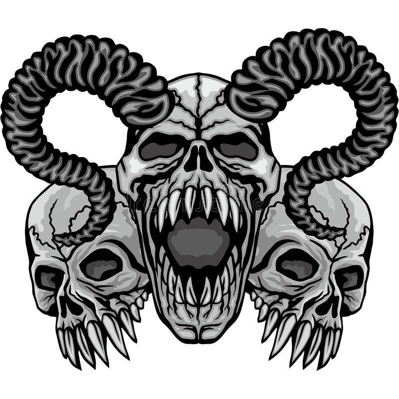 escudo de armas del cráneo del grunge libre illustration