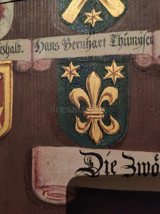 Escudo de armas del noble Fleur de lis y representación hexagram imagen de archivo libre de regalías