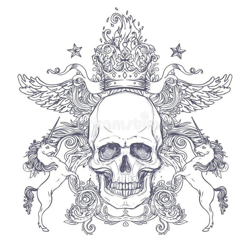 Escudo de armas gótico con el cráneo Escritura de la etiqueta de la vendimia Desi retro del vector stock de ilustración