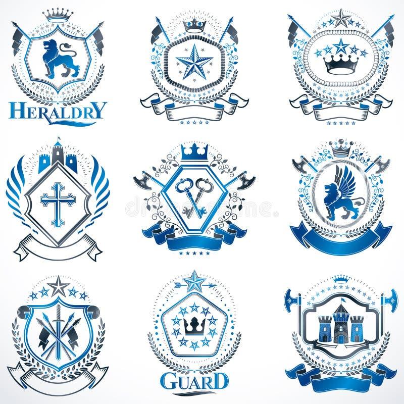 Escudo de armas heráldico creado con los elementos, los animales, las torres, las coronas y las estrellas del vector del vintage  libre illustration