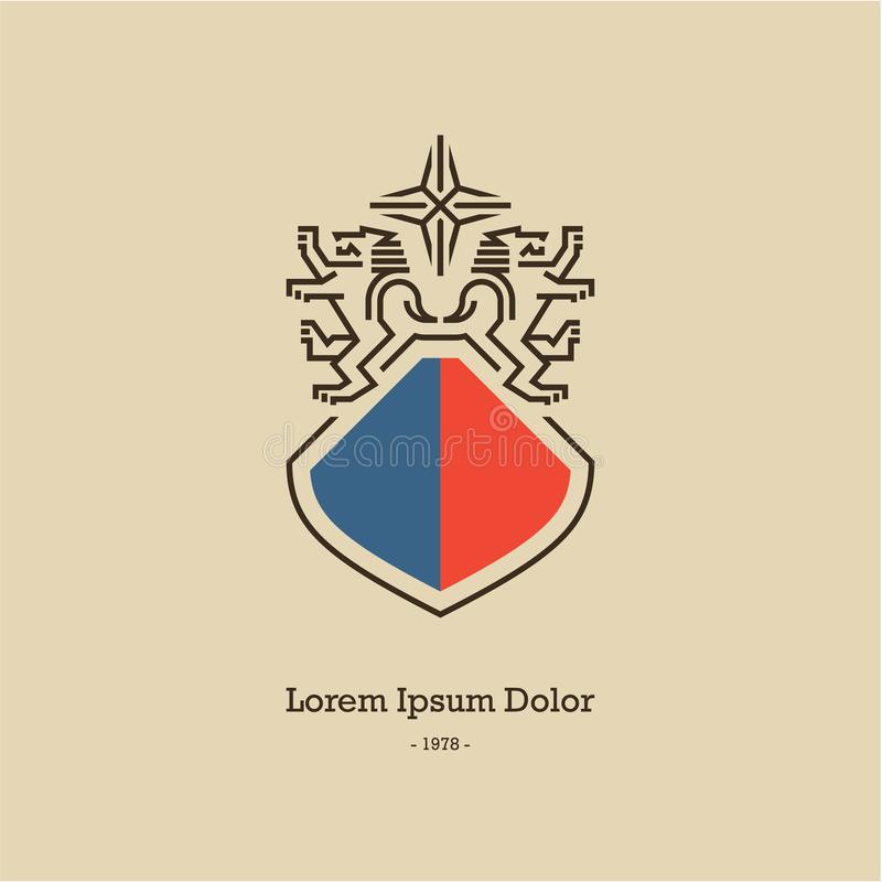 Escudo de armas heráldico del león Lion Logo ilustración del vector