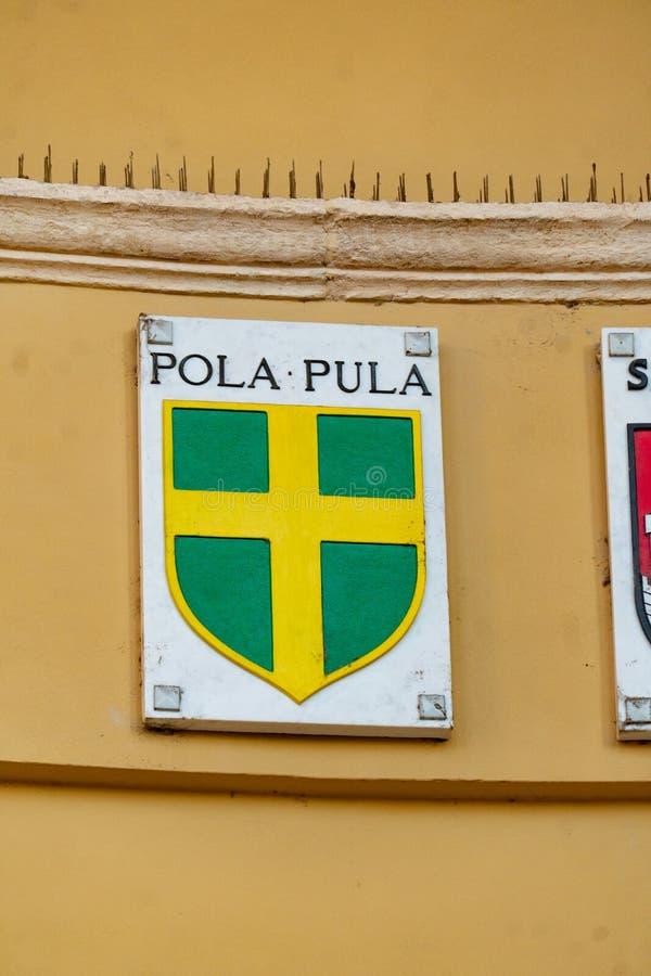 Escudo de armas de las pulas, Croacia fotografía de archivo libre de regalías