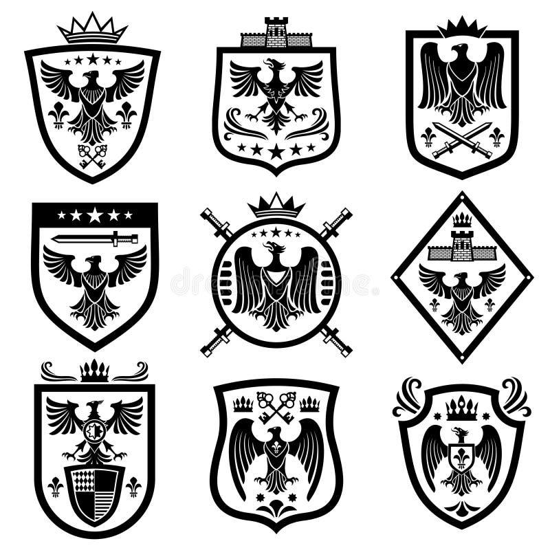Escudo de armas medieval de la heráldica del águila, emblemas, insignias libre illustration