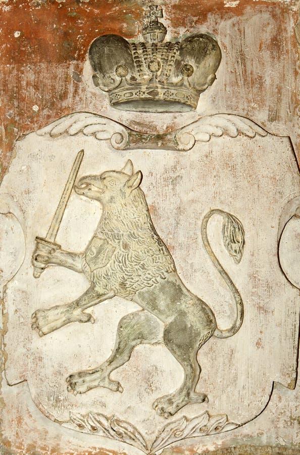 Escudo de armas medieval del ` s de Letonia foto de archivo libre de regalías