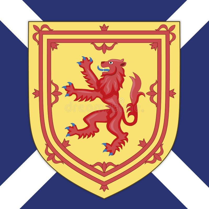Escudo de armas y bandera de Escocia stock de ilustración