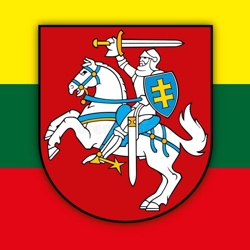 Escudo de armas y bandera de Lituania stock de ilustración