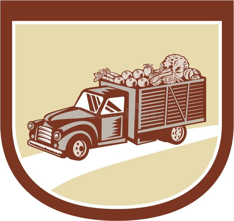 Escudo de la cosecha de la entrega de la camioneta pickup del vintage retro ilustración del vector