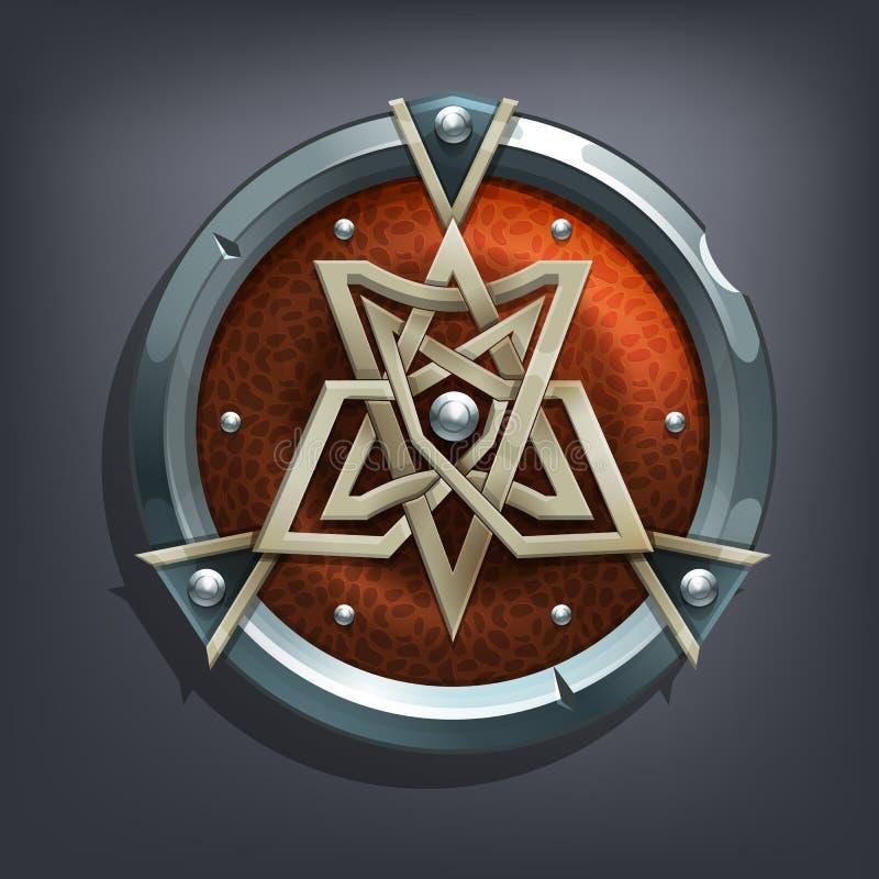Escudo de la fantasía del hierro para el juego o las tarjetas stock de ilustración