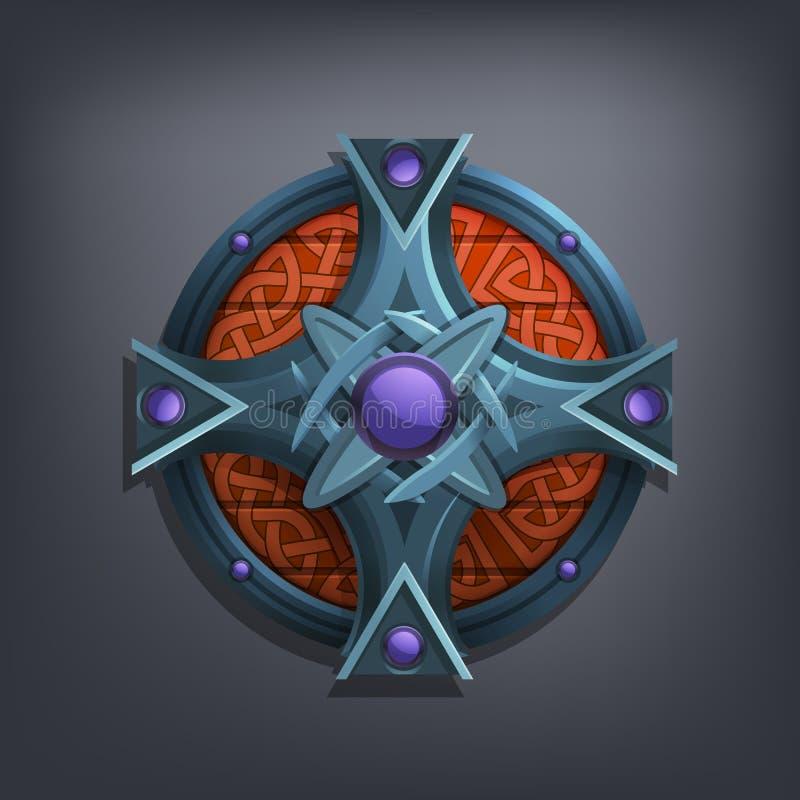 Escudo de la fantasía del hierro para el juego o las tarjetas ilustración del vector