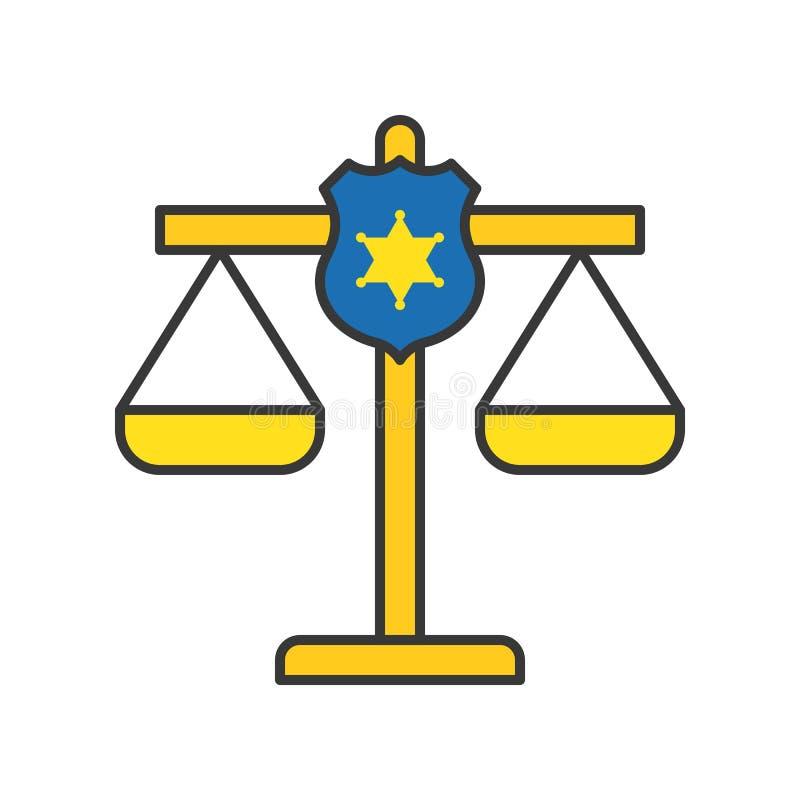 Escudo de la policía en la escala de la justicia, movimiento editable del icono relacionado de la ley ilustración del vector