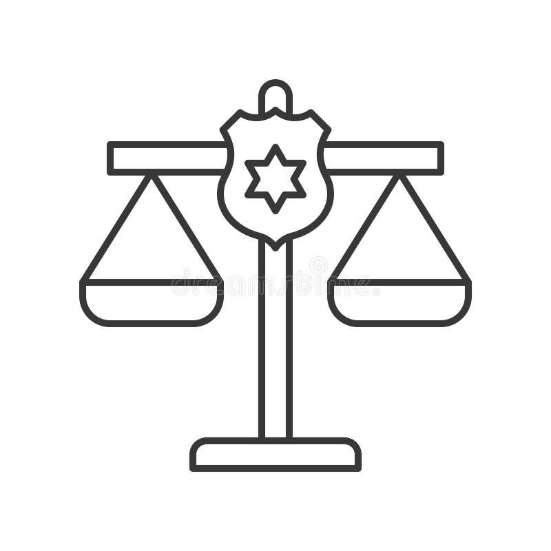 Escudo de la policía en la escala de la justicia, movimiento editable del icono relacionado de la ley libre illustration