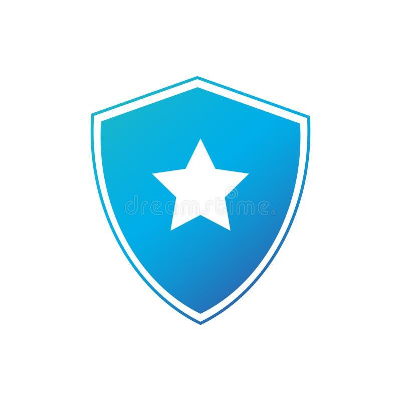 Escudo de la seguridad con el icono de la estrella, plantilla del logotipo del super héroe Escudo con el interior de la estrella  stock de ilustración
