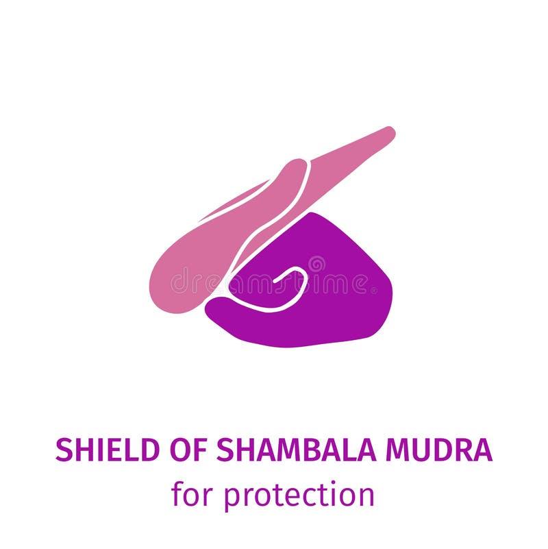 Escudo de la yoga del elemento de las manos del mudra de Shambala Ejemplo en un fondo blanco para un estudio de la yoga, postales ilustración del vector