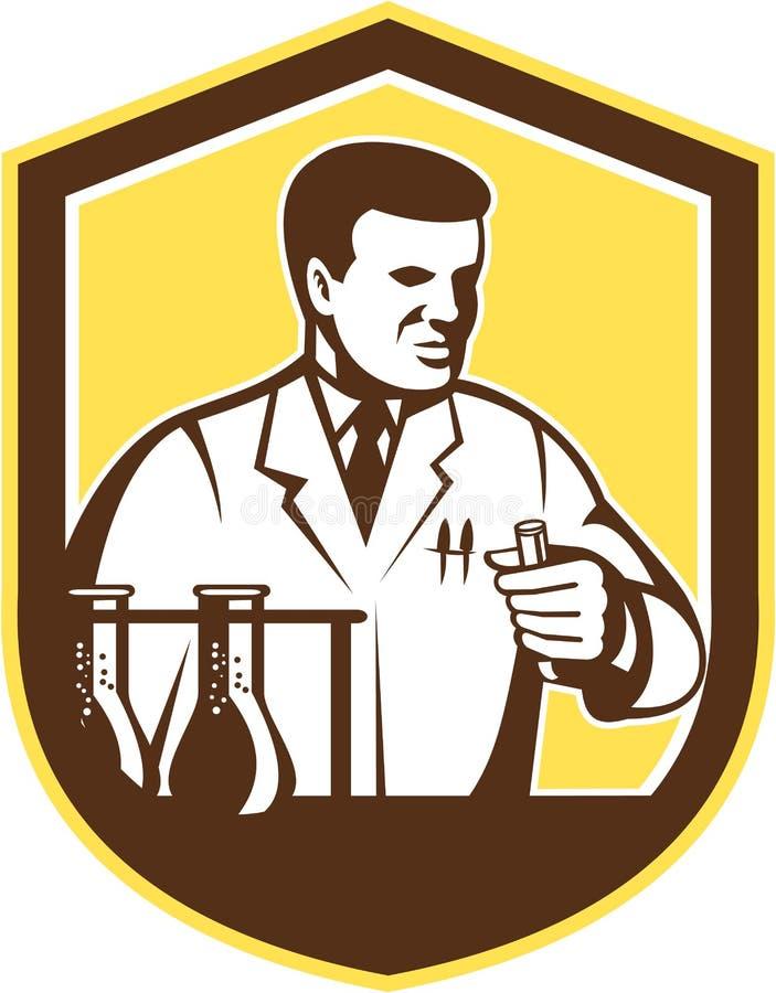 Escudo de Lab Researcher Chemist del científico retro stock de ilustración
