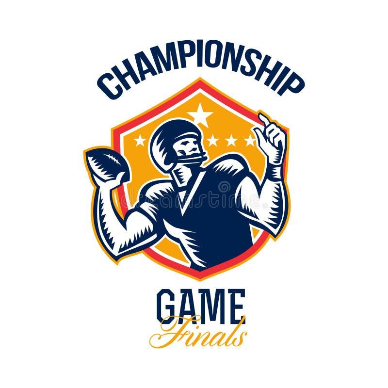 Escudo de los finales del partido del campeonato del fútbol americano ilustración del vector
