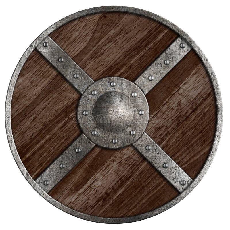 Escudo de madera redondo medieval de vikingos aislado foto for Antecomedores redondos madera
