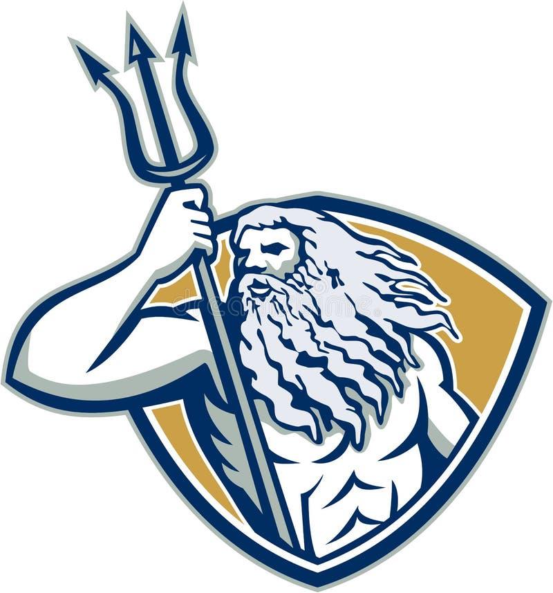 Escudo de Neptuno Poseidon Trident retro ilustración del vector
