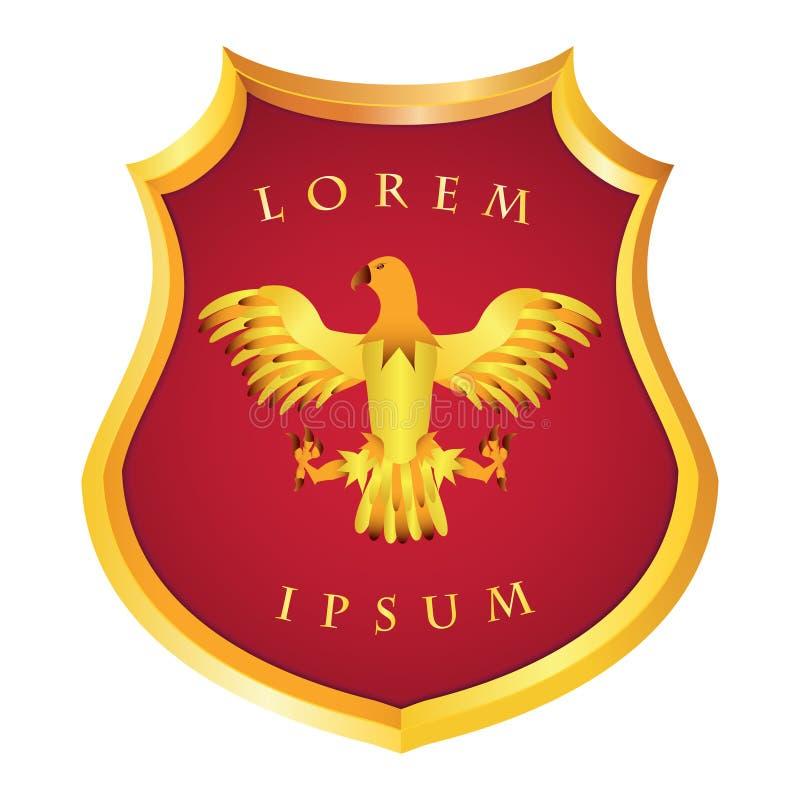 Escudo de oro alemán heráldico con una imagen de un águila en un rojo libre illustration
