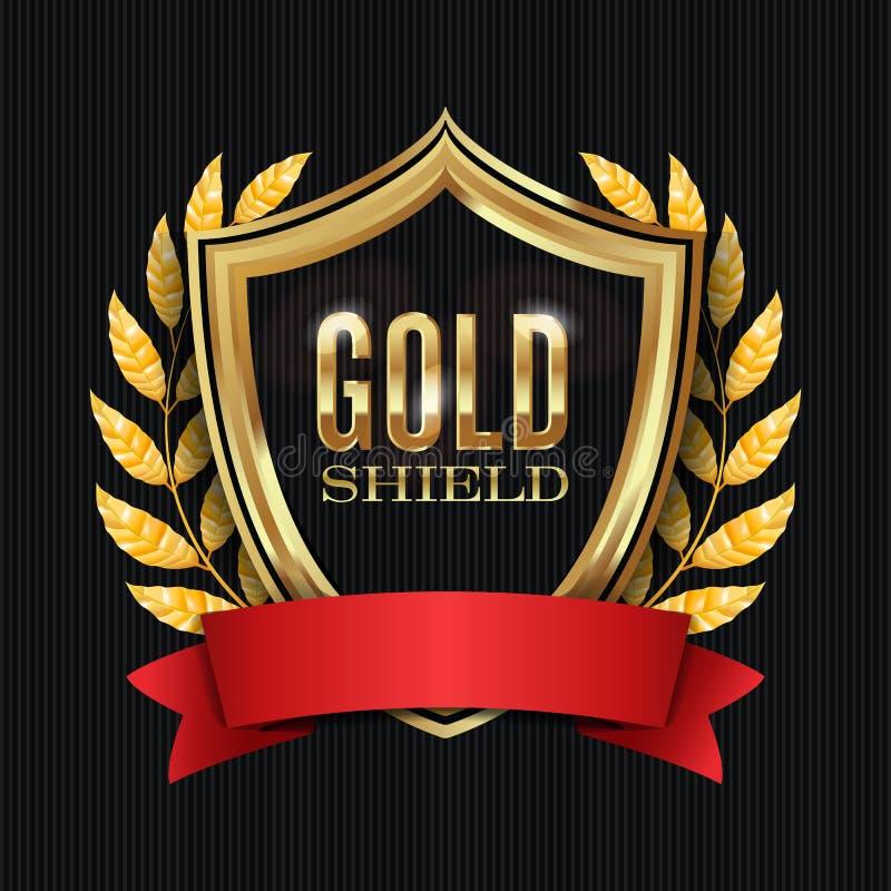 Escudo de oro con Laurel Wreath And Red Ribbon Ilustración del vector libre illustration
